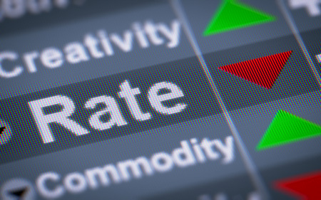liked: Rate on the screen. Down. Stock Photo