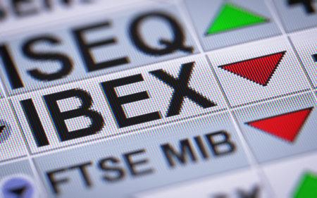 Die Benchmark-Aktienindex der Bolsa de Madrid, Spanien Hauptbörse. Nach unten.