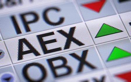 De Amsterdam Exchange index is een aandelenmarkt index samengesteld uit Nederlandse bedrijven die de handel op Euronext Amsterdam. Up. Stockfoto - 71004625