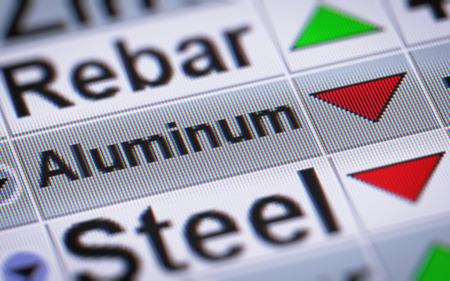 mettalic: Index of Aluminum. Down.