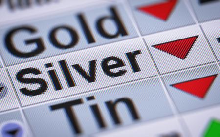 Index von Silber. Nach unten.
