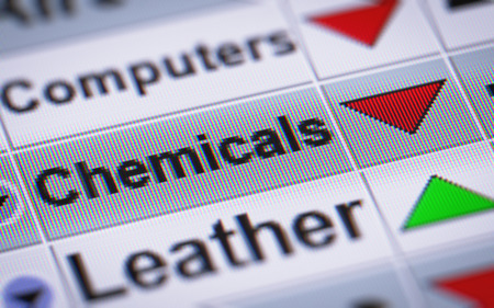 chemic: Index of Chemicals. Down. Stock Photo