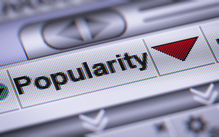 """""""Popularity"""" on the screen. Down. Stock Photo"""