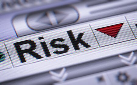 risky innovation: Risk on the screen. Down. Stock Photo