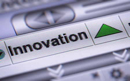 resourcefulness: Innovation on the screen. Up. Stock Photo