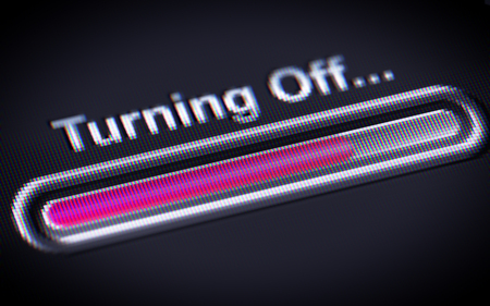 turning off: Process of Turning Off on a screen.