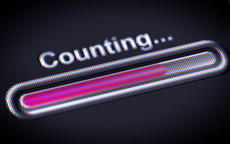 summation: Process of Counting on a screen. Stock Photo