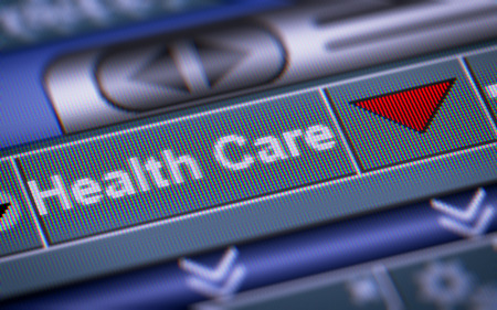 doctor money: Index of Health Care on the screen. Down. Stock Photo