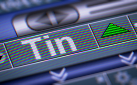 Index of Tin on the screen. Up. Stock Photo