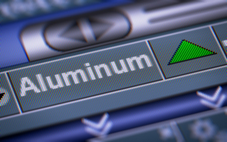 mettalic: Index of Aluminum on the screen. Up. Stock Photo