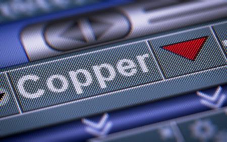 mettalic: Index of Copper on the screen. Down. Stock Photo