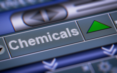 chemic: Index of Chemicals on the screen. Up. Stock Photo