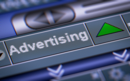 Index of Advertising on the screen. Up. Stock Photo