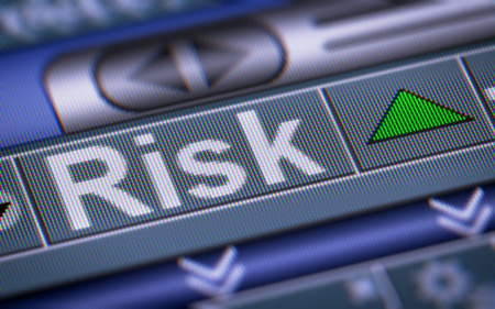 risky innovation: Index of Risk on the screen. Up. Stock Photo