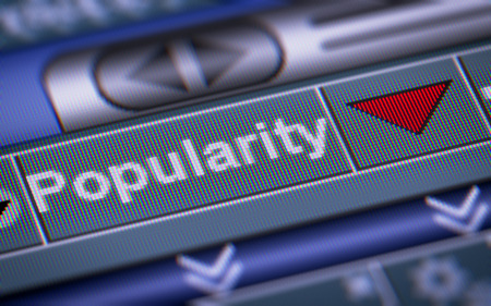 popularity: Index of Popularity on the screen. Down. Stock Photo