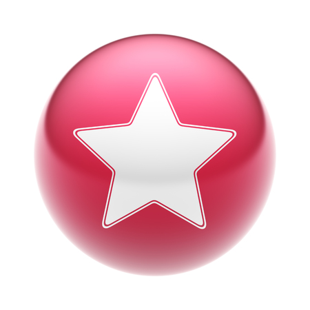liked: The Favorite Icon on The red Ball. Stock Photo