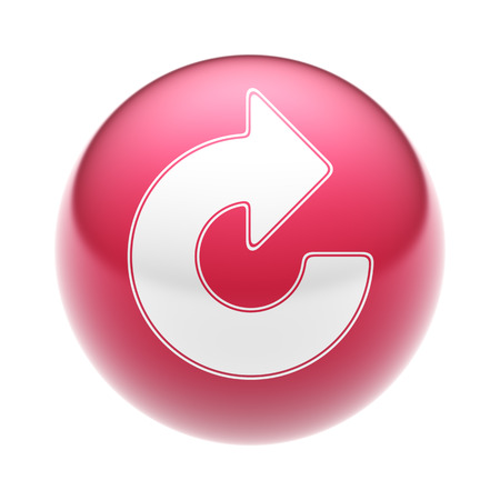 reiterate: The Reload Icon on the red Ball. Stock Photo