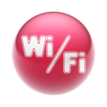 The Wi-Fi Icon on the red Ball. Stock Photo