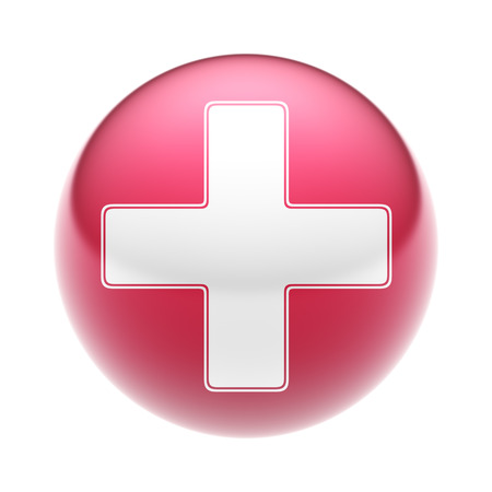 summation: The Plus Icon on the red Ball. Stock Photo