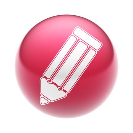 ball pens stationery: El icono de lápiz en la bola roja.