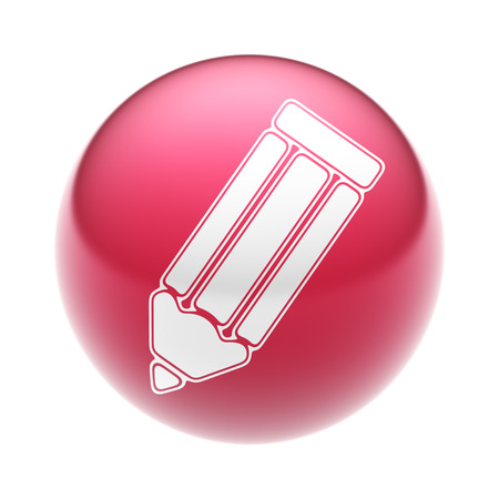 The Pencil Icon on the red Ball. Stock Photo