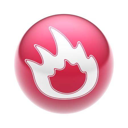 The Flame Icon on the red Ball. Stock Photo