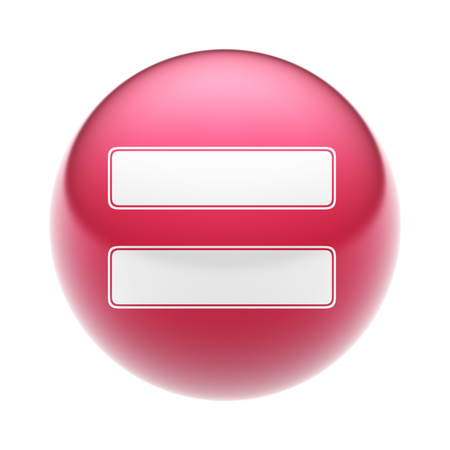 sign equals: The equals sign on the red ball. Stock Photo