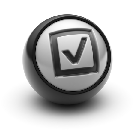 validated: The Checkbox Icon on The black Ball.