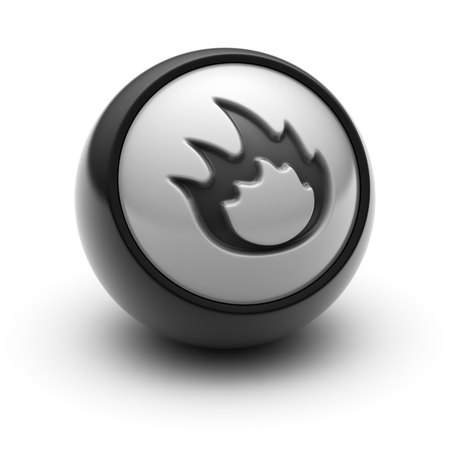 The Flame Icon on The black Ball.