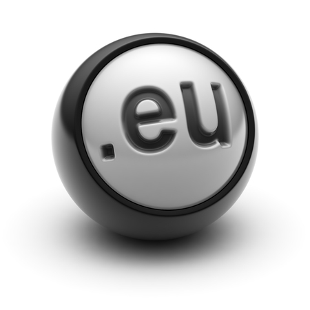 .eu on The black Ball. Stock Photo