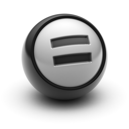 summation: The equals sign Icon on The black Ball.