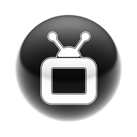 Icône TV sur la boule noire. Banque d'images - 74379895