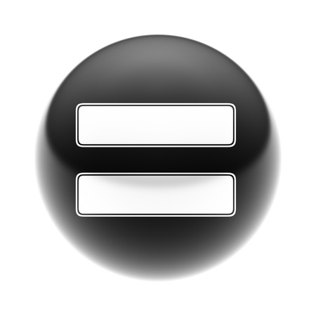 sign equals: The Equals Sign on The black Ball. Stock Photo