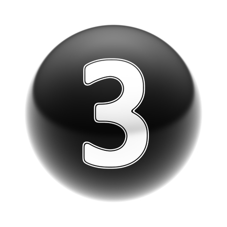 The Number 3 on The black Ball.