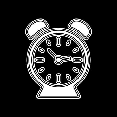 The Clock Icon on A black Background. Stock Photo