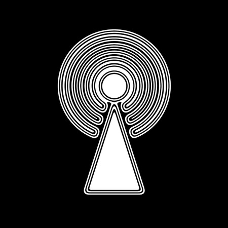 The Antenna Icon on A black Background. Stock Photo
