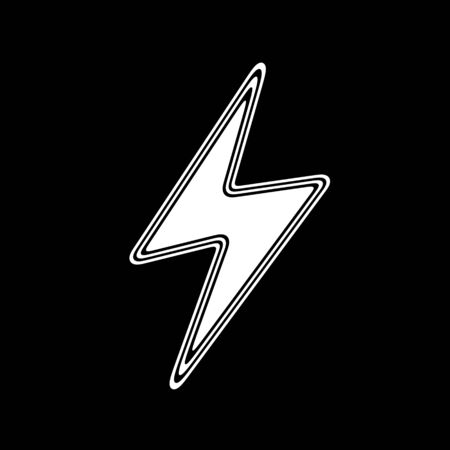 The Lightning Icon on A black Background. Stock Photo