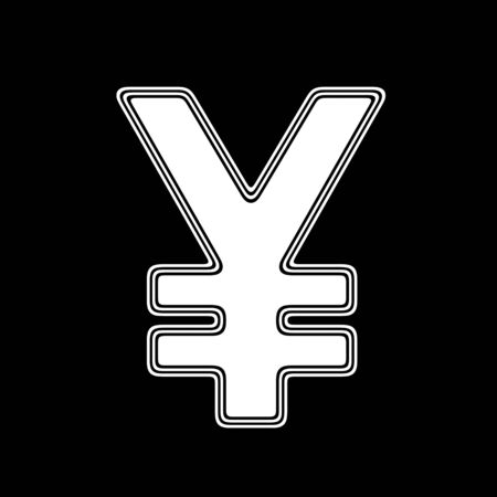 The Yen Icon on A black Background.