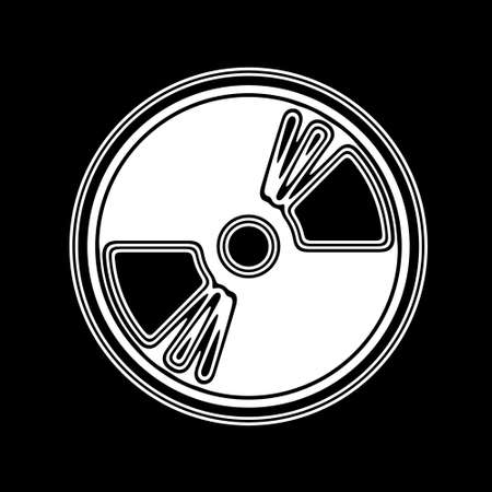 cd recorder: The Disc Icon on A black Background.