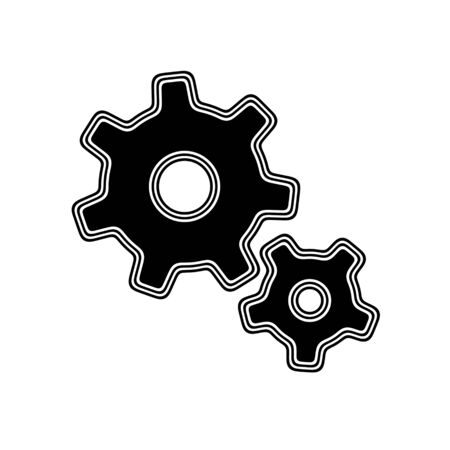 The Gear Icon on A white Background.