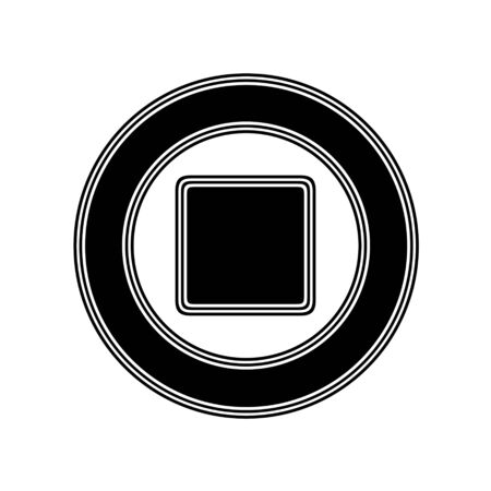 playback: The Stop Icon on A white Background.