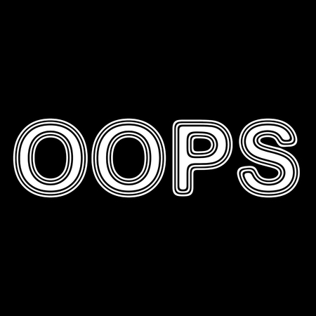 ooops: OOPS on A black Background. Stock Photo