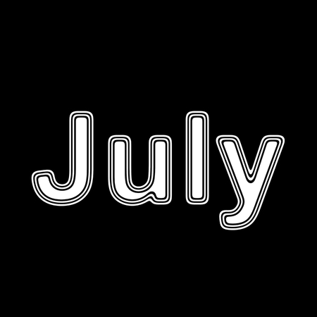 event planner: July on A black Background.