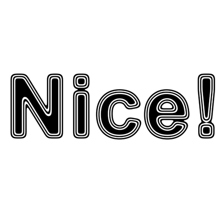 liked: Nice! on A white Background. Stock Photo