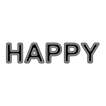 HAPPY on A white Background.