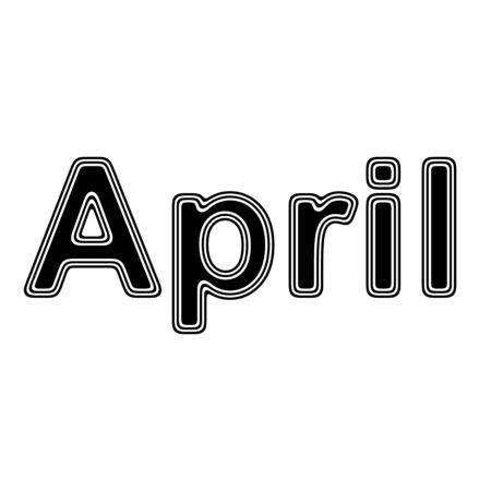 April on A white Background. Stock Photo