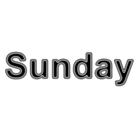 Sunday on A white Background.