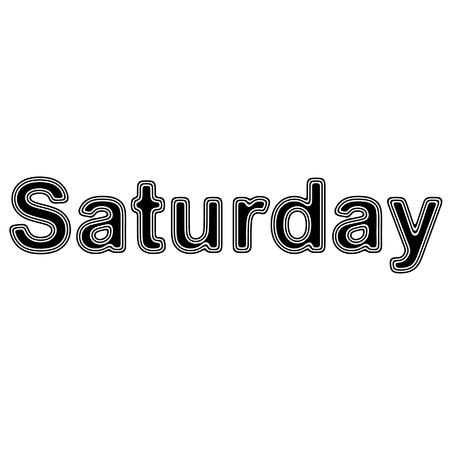 event planning: Saturday on A white Background. Stock Photo