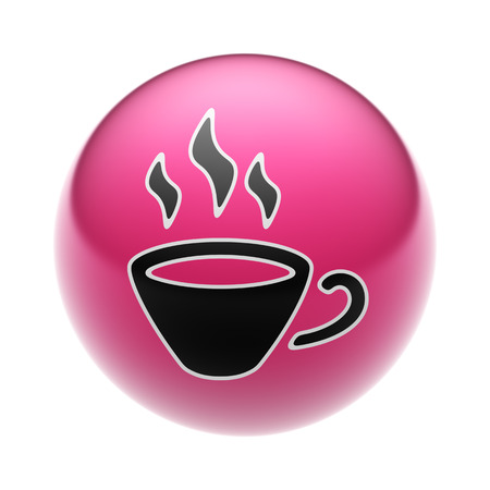 A Coffee Icon on A red Ball. Stock Photo
