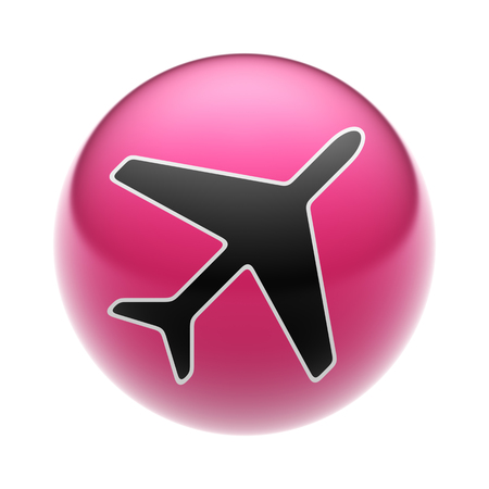 Flight Icon on A red Ball. Stock Photo